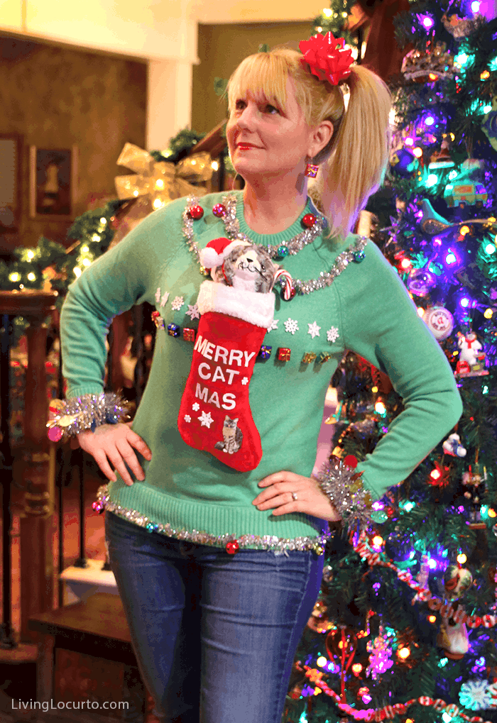 funny ugly christmas sweater party ideas creative homemade crazy cat lady sweater by livinglocurto - How To Decorate A Ugly Christmas Sweater