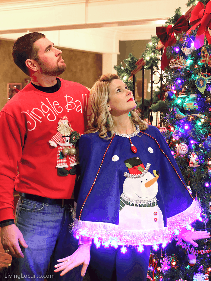 Funny Ugly Christmas Sweater Party Ideas! Creative homemade sweaters and light up snowman cape.
