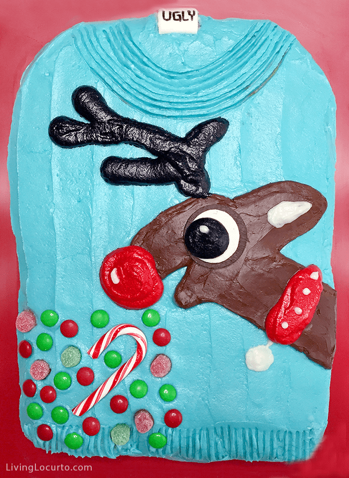 A Reindeer Ugly Christmas Sweater Cake is an easy to make funny dessert for a Tacky Ugly Christmas Sweater Party! Rudolph vomits candy.
