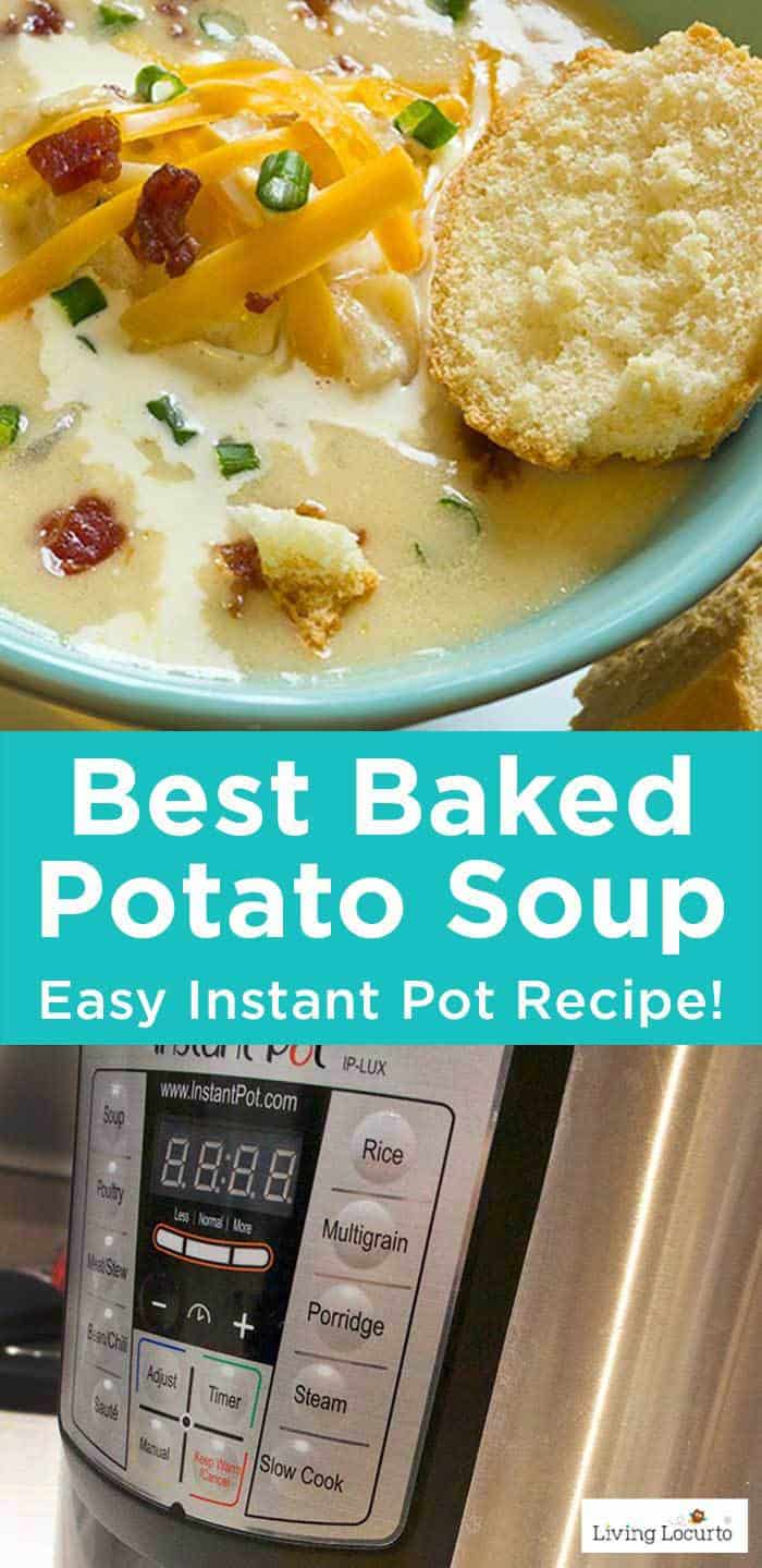 Instant Pot Potato Soup is one of the best Instant Pot Recipes! Easy Pressure Cooker Recipe ideas. LivingLocurto.com #potato #soup #instantpot