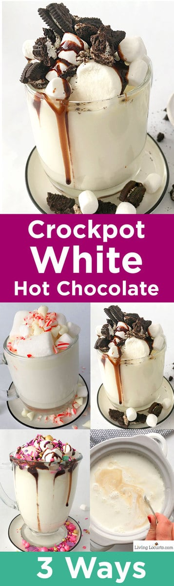 How to make Crockpot White Hot Chocolate! Delicious slow cooker hot chocolate made three ways. Recipe with OREO cookies, crushed peppermint, Valentine candy sprinkles and Marshmallow toppings. Easy party recipe idea. #hotchocolate #whitechocolate #crockpot #slowcooker #drinks #recipe