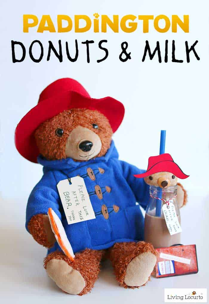 Paddington bear donuts and milk are adorable no bake party treats! A simple DIY fun food recipe idea perfect for a Paddington birthday party or family movie night.