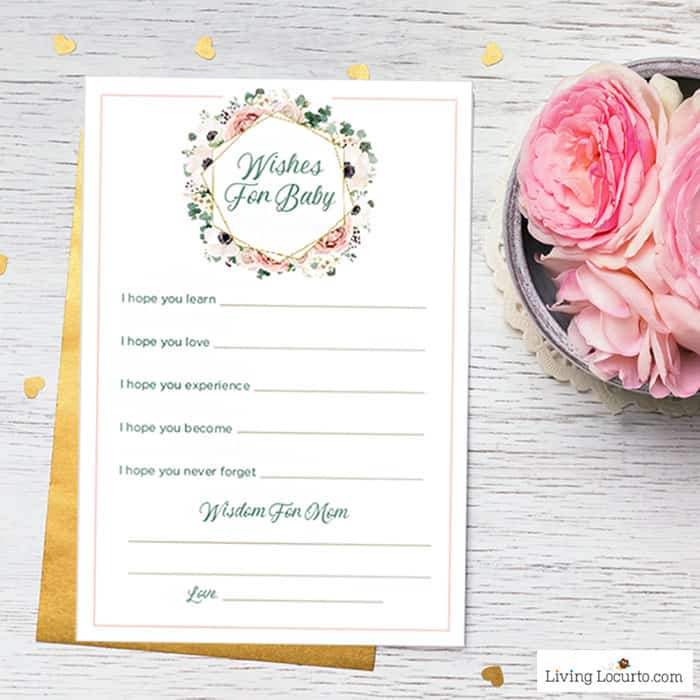 Wishes for Baby Printable - Refreshing baby shower game ideas, printables and more so you can plan the best baby shower! Baby shower games for women, men and couples.