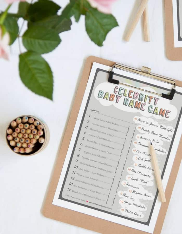 Printable baby shower game celebrity babies