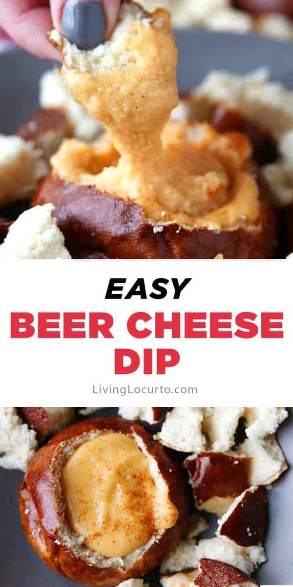 Hot Beer Cheese Dip recipe served in pretzel bread bowls. A crowd pleasing appetizer for any party! #dip #cheese