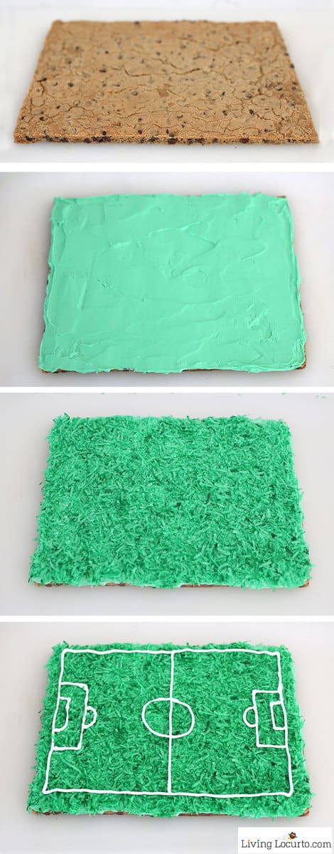 How to make a Soccer Cookie Cake. Easy Soccer Party Cake Recipe Idea. LivingLocurto.com