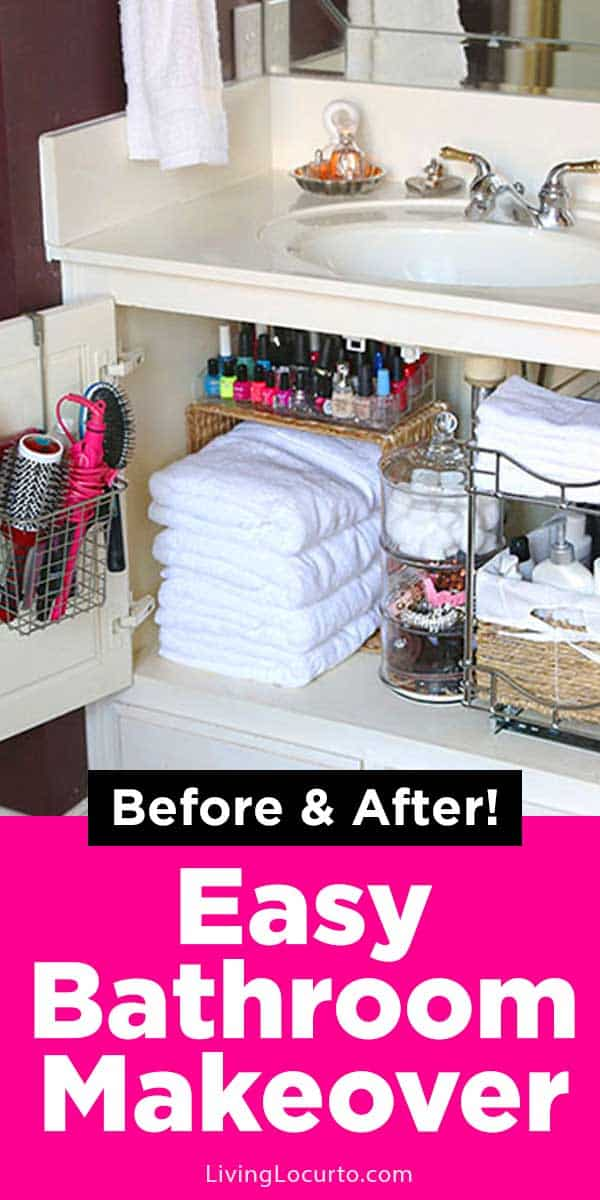 Easy Bathroom Organization Ideas! Organize your home with these quick ideas. Cabinet Bathroom Organization Makeover with amazing before and after photos. LivingLocurto.com