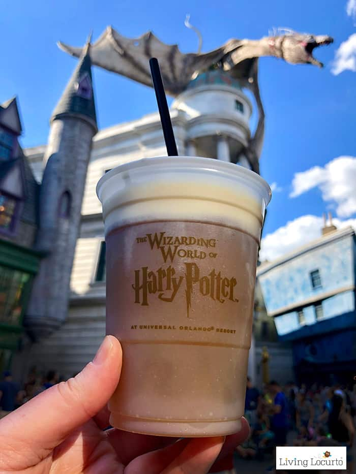 A Homemade Frozen Butterbeer Recipe that's a perfect treat for any Harry Potter fan! Easy copycat drink recipe that tastes like Butterbeer from Universal Orlando. LivingLocurto.com #butterbeer
