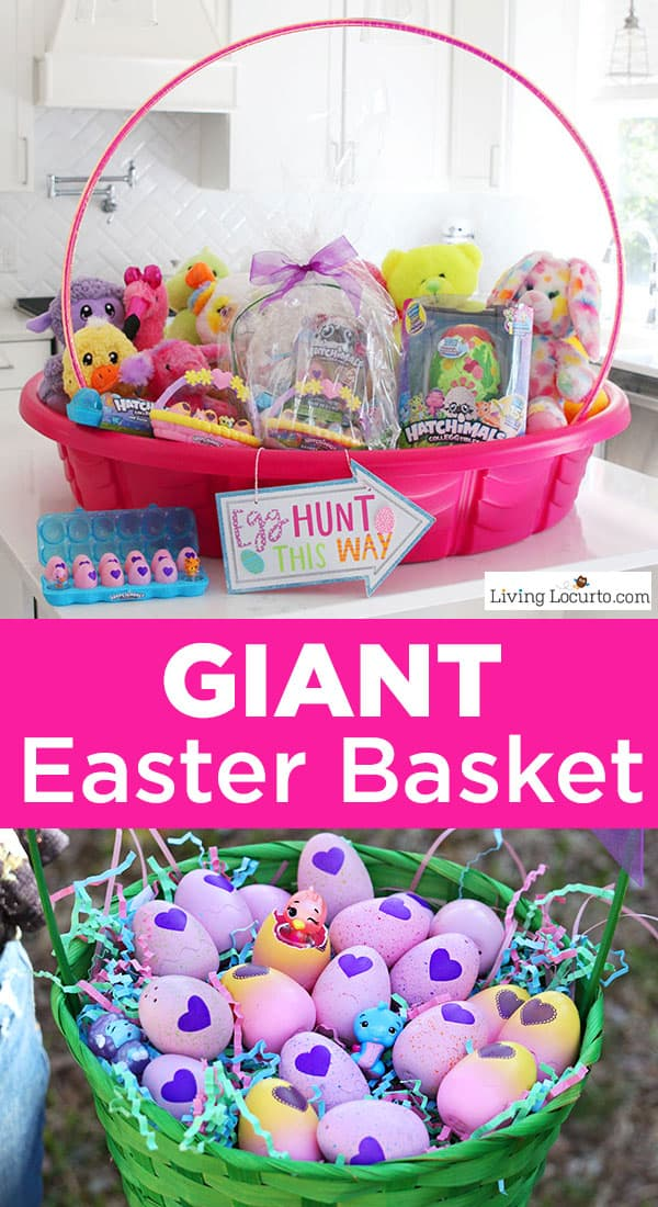 Fun new Easter Egg Hunt Ideas and the cutest Giant Easter Basket to inspire you to get creative just in time for Easter! A DIY Giant Easter Basket made out of a kid's swimming pool. The adorable Hatchimals CollEGGtibles will make Easter egg hunts extra exciting! #HatchyEaster #easter #easterbasket #gifts #crafts