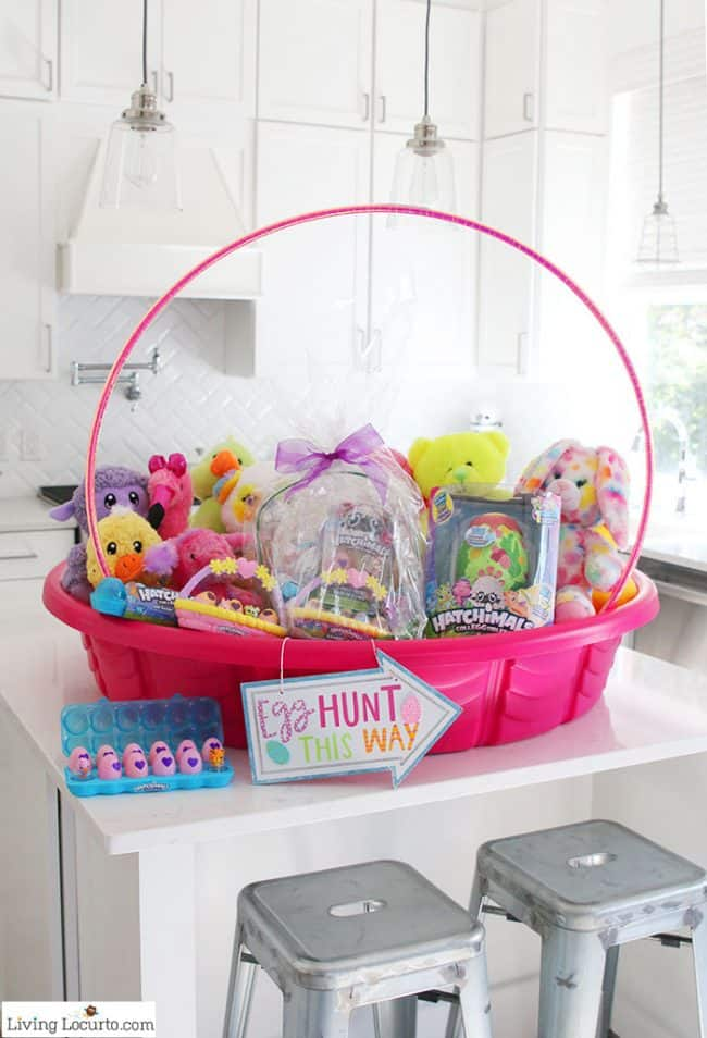 Fun new Easter Egg Hunt Ideas and the cutest Giant Easter Basket to inspire you to get creative just in time for Easter! A DIY Giant Easter Basket made out of a kid's swimming pool.