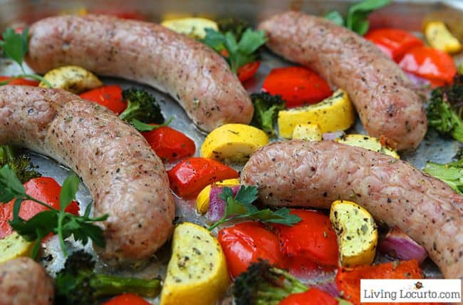 Sheet Pan Chicken Sausage and Vegetables. Easy low carb recipe on the dinner table in 30-minutes or less.