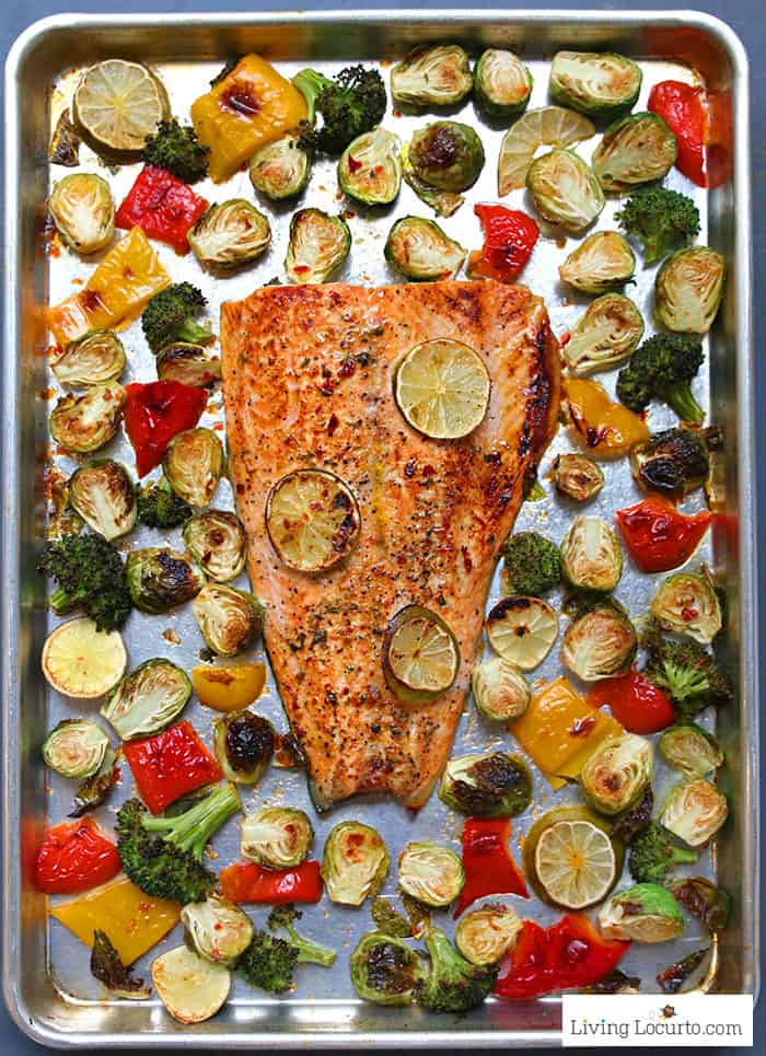 Easy Roasted Brussels Sprouts Recipe with Sheet Pan Chili Lime Salmon