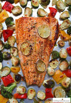 10 minute Sheet Pan Salmon Recipe | Sheet Pan Sambal Chili Lime Salmon and Brussels Sprouts