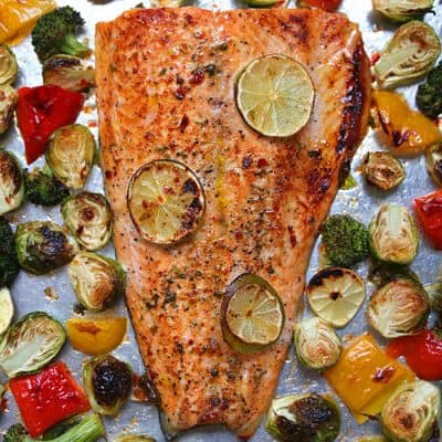 10 minute Sheet Pan Salmon Recipe | Sheet Pan Sambal Chili Lime Salmon and Brussels Sprouts