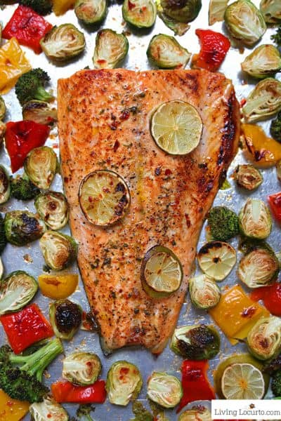 Sheet Pan Sambal Chili Lime Salmon and Brussels Sprouts