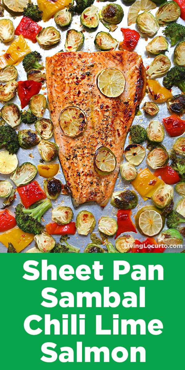 Sheet Pan Sambal Chili Lime Salmon with Brussels Sprouts. Get ready for the best 10 minute Sheet Pan Salmon dinner recipe ever! Sambal chili lime salmon with Brussels sprouts, broccoli and bell peppers is a quick and easy low carb dinner packed with spicy flavor.