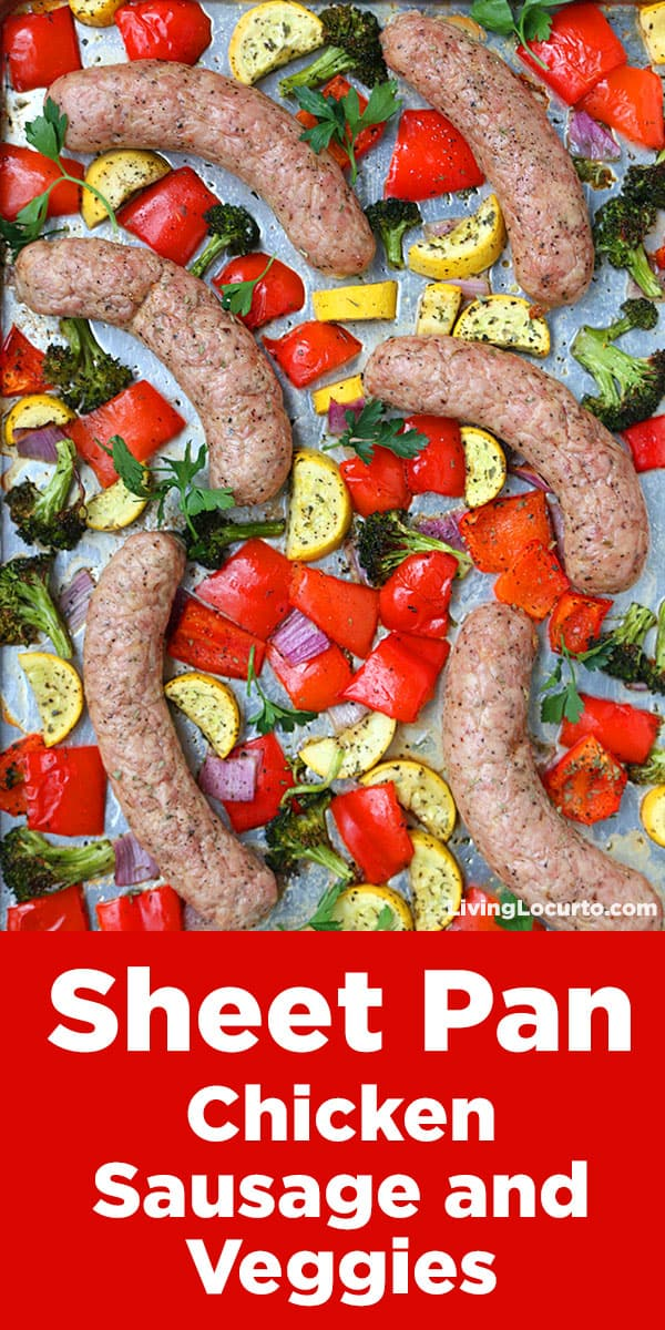 When you need dinner fast, try this EASY recipe! Sheet Pan Chicken Sausage and Vegetables is a perfect recipe for a quick low carb, keto healthy family dinner! A one pan easy meal full of Italian flavors on your dinner table in 30-minutes or less. Serve with pasta or potatoes for a more carb friendly meal. #sheetpan #sheetpandinner #onepan #chicken #chickensausage #recipe #dinner #livinglocurto #dinnerideas #vegetables #roastedveggies #veggies #redpepper #squash #broccoli #sausage #recipeoftheday #lowcarb #healthydinner #keto #whole30