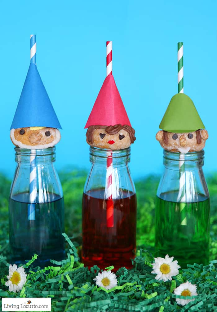 Cute no-bake Gnome Donuts to celebrate Sherlock Gnomes a fun, family friendly movie. Easy recipe idea for a woodland, fairy or gnome themed party.
