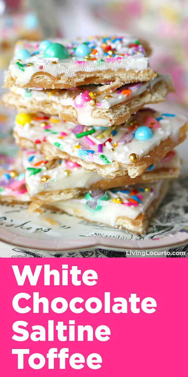 Unicorn Crack is a simple and addicting white chocolate saltine toffee recipe! Topped with pastel rainbow sprinkles, this easy treat is perfect for Easter, a unicorn party or rainbow birthday celebration.