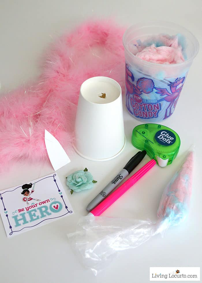 Unicorn Cotton Candy Party Favors perfect for a birthday or kids craft supplies.