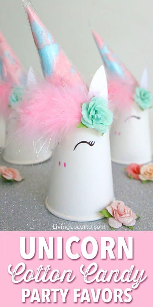 Unicorn Cotton Candy Party Favors perfect for a birthday or kids craft activity. Cute DIY unicorn party idea with Nella the Princess Knight printable gift tags.