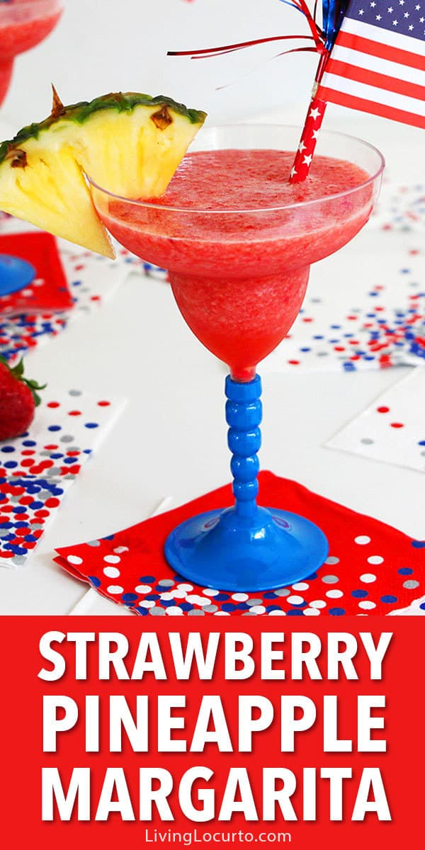 A Frozen Pineapple Strawberry Margarita is a simple and festive cocktail perfect for summer parties or lounging by the pool. Red, white and blue 4th of July Party Food