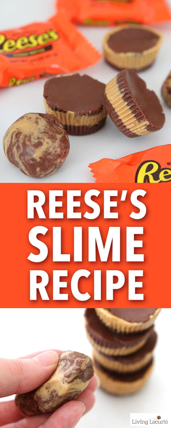 This Reese's slime recipe is so fun! Learn how to make chocolate peanut butter cup edible slime. A fun craft for kids who love Reese's candy. Easy homemade putty. #slime #slimerecipe #reeses #crafts #craft #playdough #edibleslime