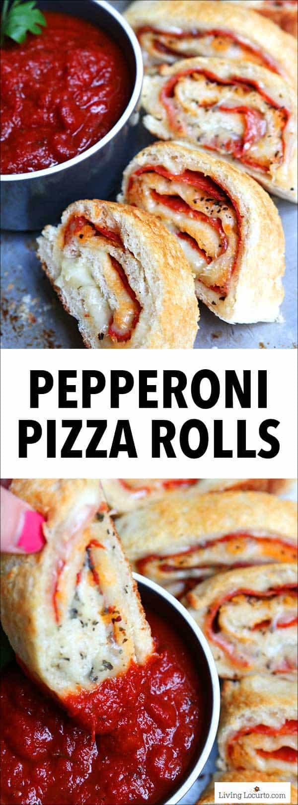 Pepperoni Pizza Rolls with pizza dough filled with pepperoni, mozzarella cheese, Italian spices! Dip in marinara sauce for an easy dinner, party food or kids snack! Kids love this recipe.