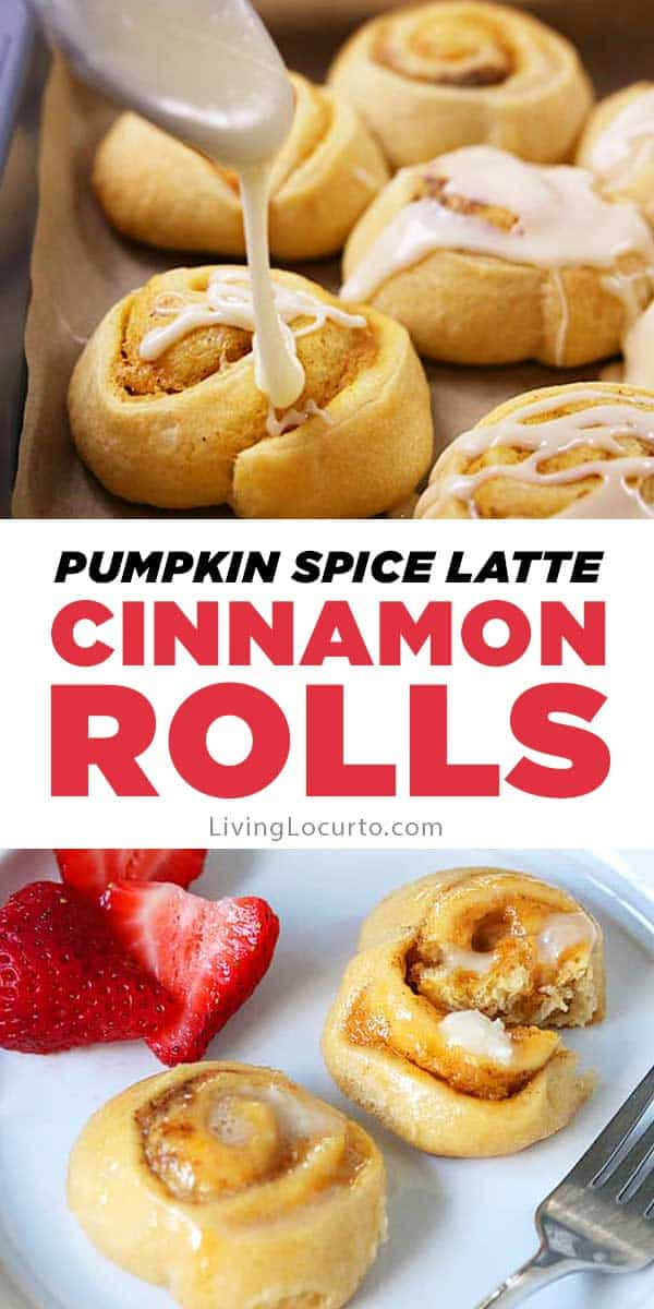 Pumpkin Spice Latte Cinnamon Rolls have a hint of coffee, cream cheese and pumpkin spices. Enjoy a quick and easy homemade breakfast in less than 25 minutes with this tasty recipe! #pumpkin