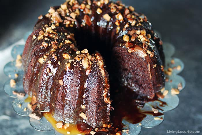 Better Than Sex Cake is the best dessert! Chocolate Bundt cake recipe filled with caramel and topped with toffee bits.