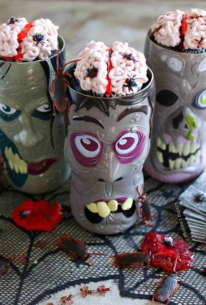 Brain cupcakes with bugs halloween party food idea creepy brain cupcakes covered in bugs easy halloween party recipe just add to zombie forumfinder Choice Image