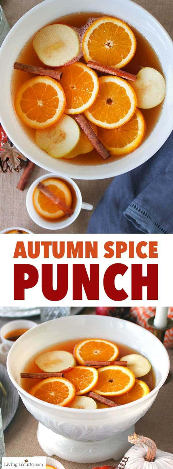 An easy Autumn Spice Punch Recipe made with sweet tea, apple juice and fall spices. A perfect drink to serve for Thanksgiving, a Christmas party or baby shower. A simple Holiday punch recipe the whole family will love! #punch #drinks