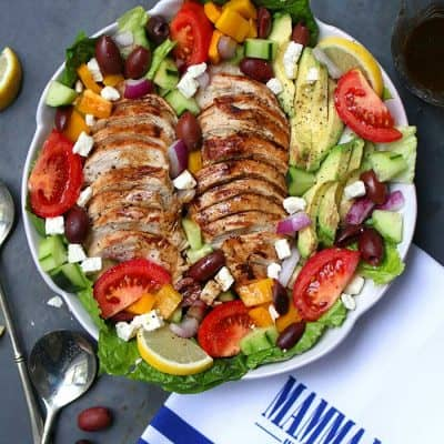 Baked Chicken Greek Salad with Avocado