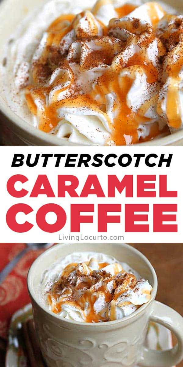 Easy Butterscotch Caramel Coffee Recipe makes the perfect drink for cold nights! Free printable recipe card for a fall party coffee bar. Fun idea for Thanksgiving, Christmas or any holiday party. #coffee #recipe #livinglocurto