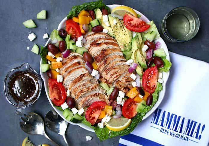 Baked Chicken Greek Salad with Avocado Recipe