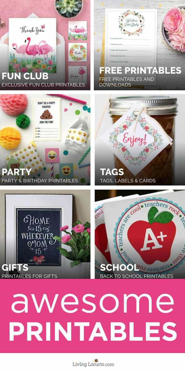 Tons of FREE printables designed to help make your life easier and fun! From birthday party printables to holiday printables, find desgns for any occasion! #printables #freeprintables #livinglocurto