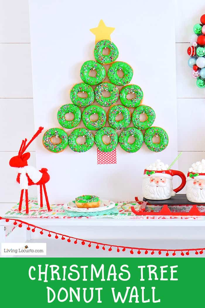 How to make a Christmas Tree Donut Wall. This simple Christmas party food craft and homemade donut recipe will wow your guests making you and your adorable donut wall the hit of the season! Cute party dessert table idea, holiday decor and breakfast treat. #christmas #donuts