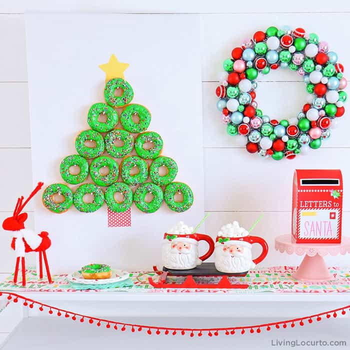 How to make a Christmas Tree Donut Wall. This simple Christmas party food craft will wow your guests! Cute dessert, holiday decor and breakfast idea. LivingLocurto.com