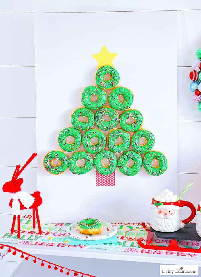 How to make a Christmas Tree Donut Wall. This simple Christmas party food craft will wow your guests and make a great gift! Cute dessert, holiday decor and breakfast idea. LivingLocurto.com