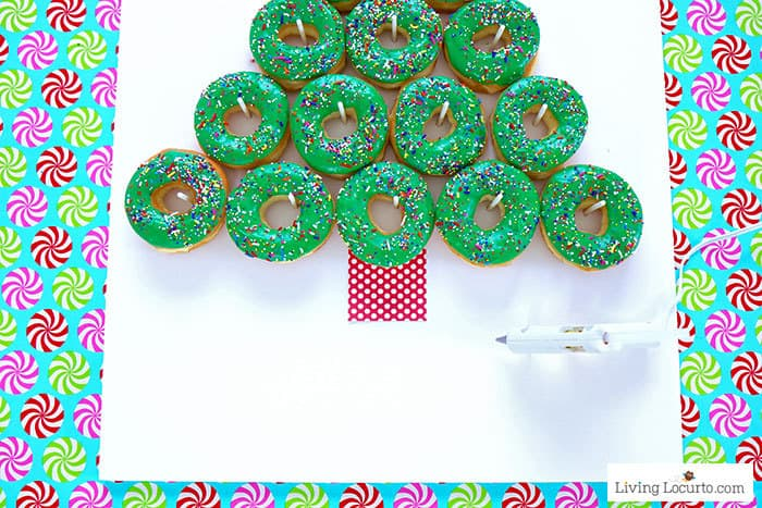 How to make a Christmas Tree Donut Wall - Step 7. Easy Christmas Party Food Craft by Living Locurto