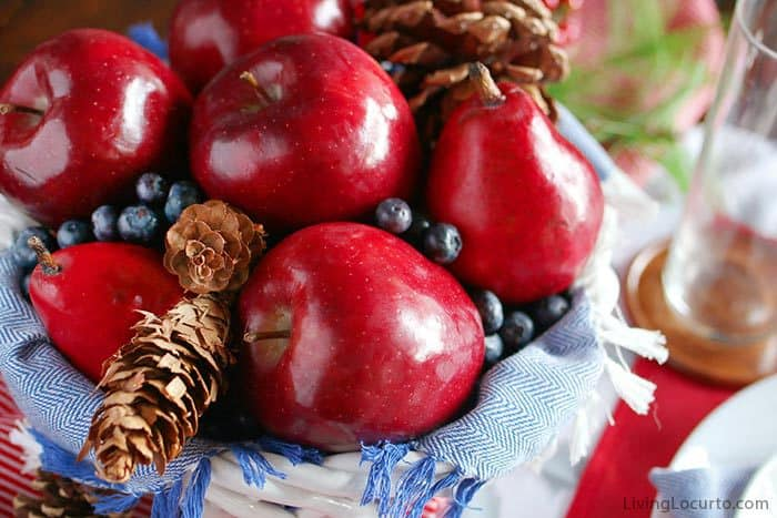 Plaid Christmas Table Decorations | Simple Natural Fruit Centerpiece with apples, pears and blueberies. LivingLocurto.com