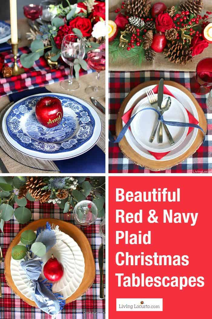 Cozy plaid Christmas table decorations. Beautiful holiday tablescapes, navy and red plaid place settings, DIY centerpieces and simple place card holders. Learn how to set a table with flowers and fruit for a holiday party! #homedecor #tablescape