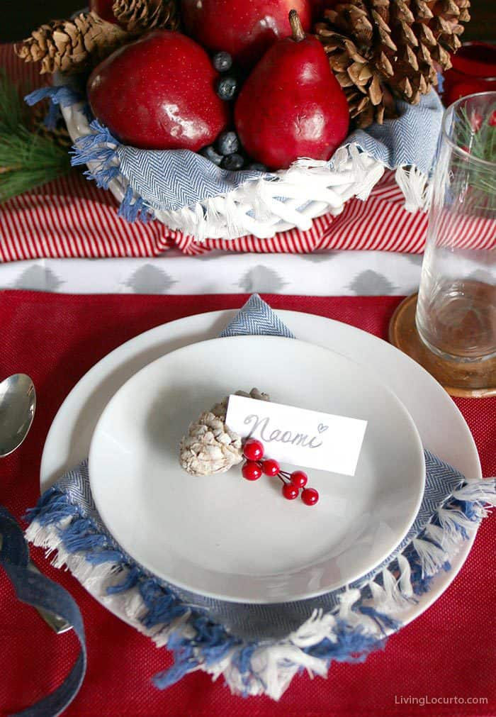 Plaid Christmas Table Decorations | Simple Natural Christmas Tablescape place setting. LivingLocurto.com