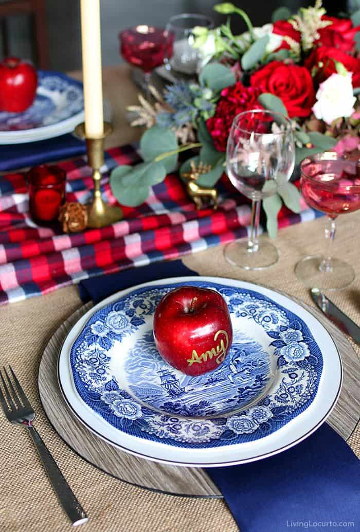 Plaid Christmas Table Decorations With Flowers And Fruit Living