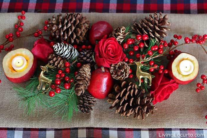 Plaid Christmas Table Decorations | Rustic Holiday Party DIY Centerpiece. LivingLocurto.com