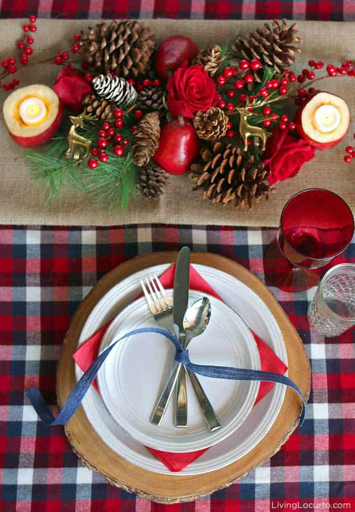 Cozy plaid Christmas table decorations. Beautiful holiday tablescapes, navy and red plaid place settings, DIY centerpieces and simple place card holders. LivingLocurto.com