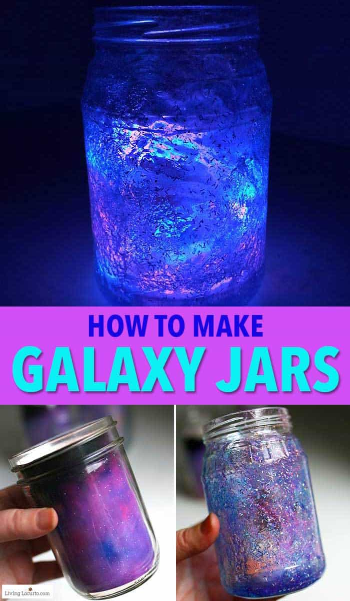 How to make Glow in the Dark Galaxy Jars. An easy DIY craft tutorial and party decor idea for kids. #craft #kids