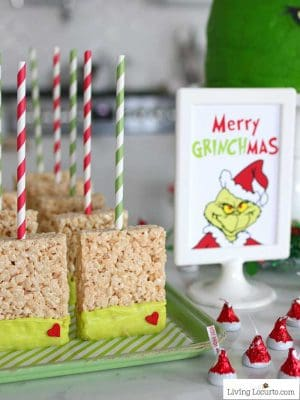 Grinch Rice Krispies Treats - Crispy Marshmallow Pops Dessert Christmas Party Recipe Living Locurto