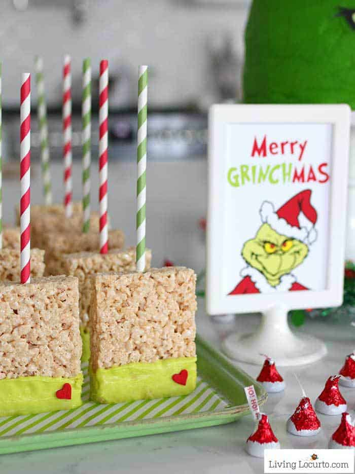 Grinch Rice Krispies Treats - Crispy Marshmallow Pops Dessert Christmas Party Recipe by Living Locurto