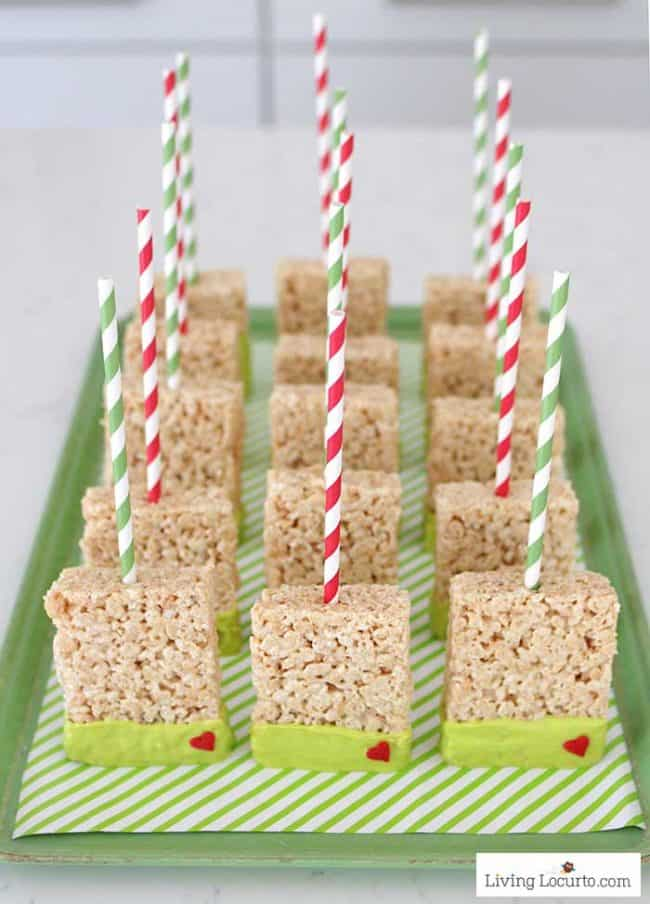 Grinch Rice Krispies Treats - Marshmallow Pops Dessert Recipe